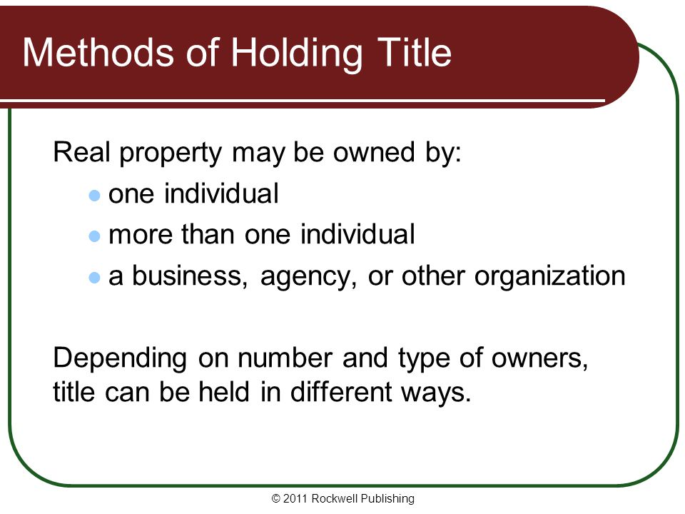Methods of Holding Title