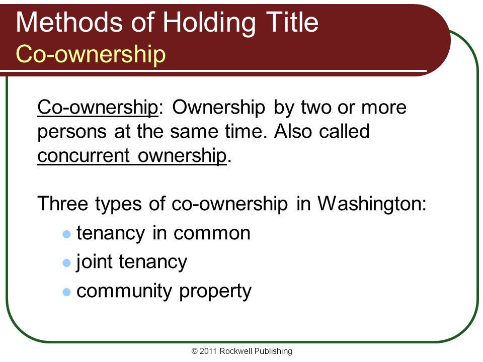 Methods of Holding Title Co-ownership