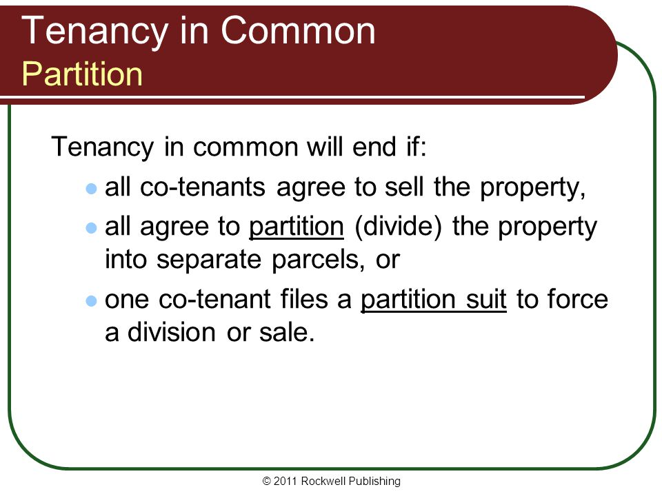 Tenancy in Common Partition
