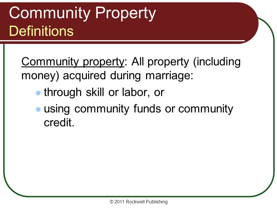 Community Property Definitions