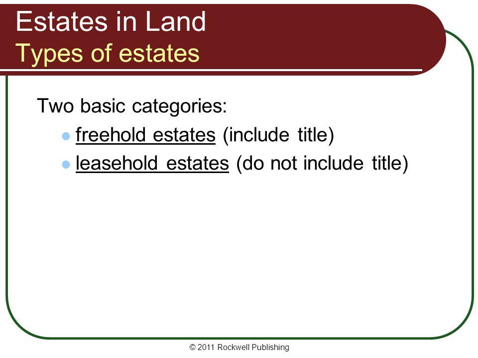 Estates in Land Types of estates