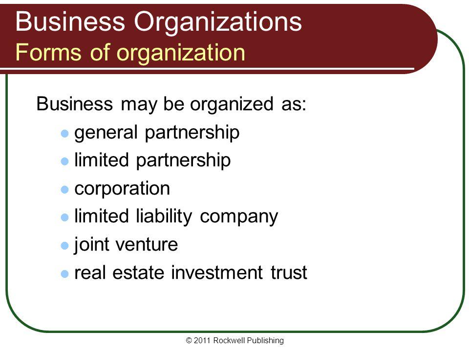 Business Organizations Forms of organization