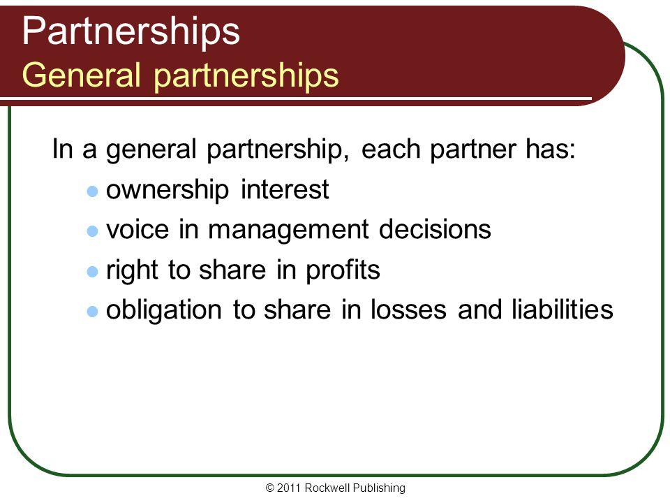 Partnerships General partnerships