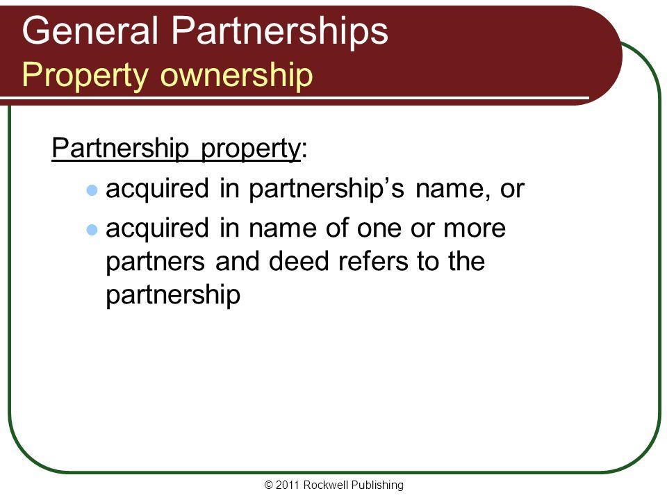 General Partnerships Property ownership