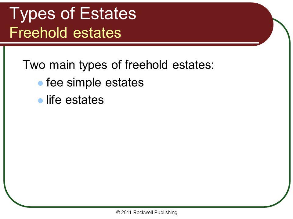 Types of Estates Freehold estates