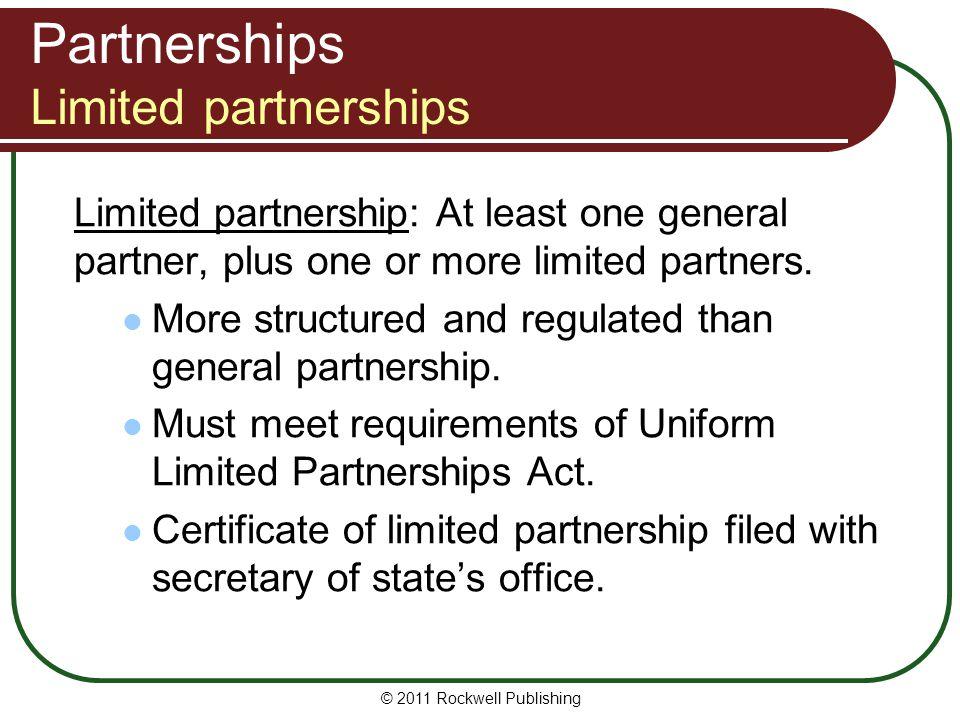 Partnerships Limited partnerships