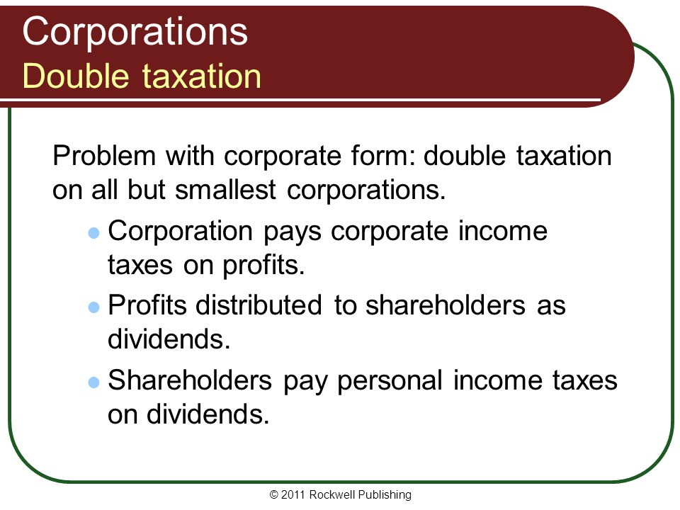 Corporations Double taxation