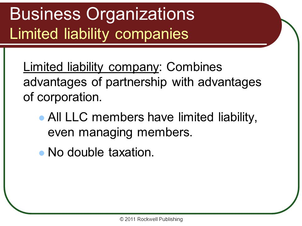 Business Organizations Limited liability companies