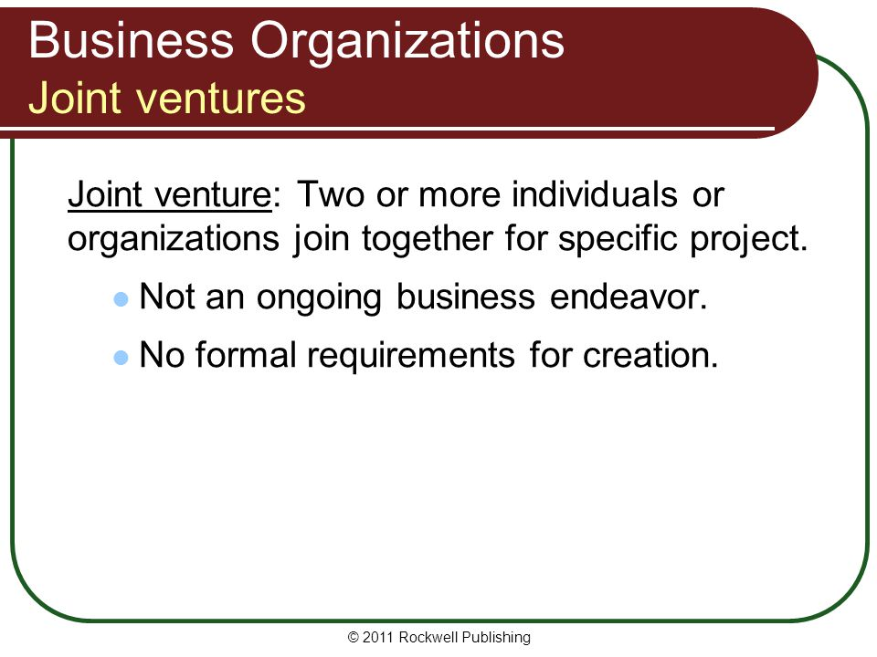 Business Organizations Joint ventures