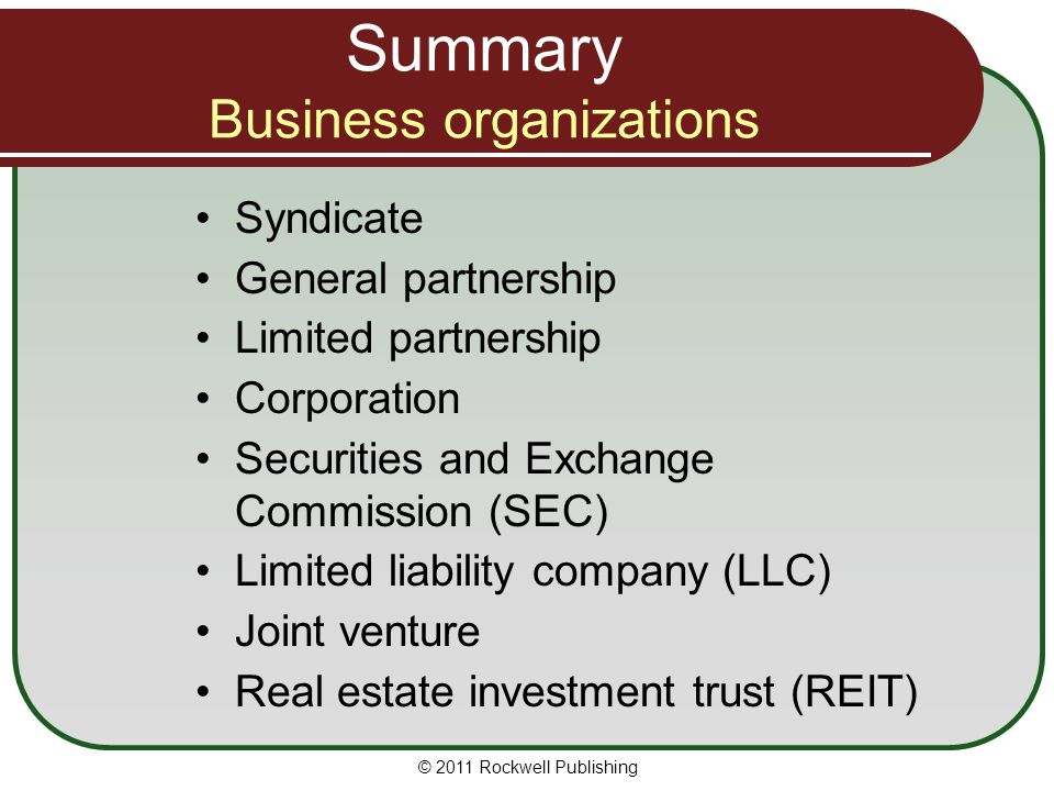 Summary Business organizations