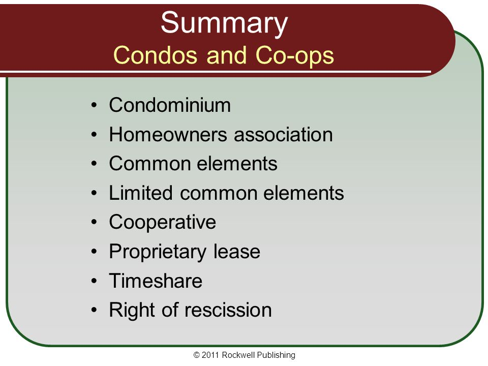 Summary Condos and Co-ops