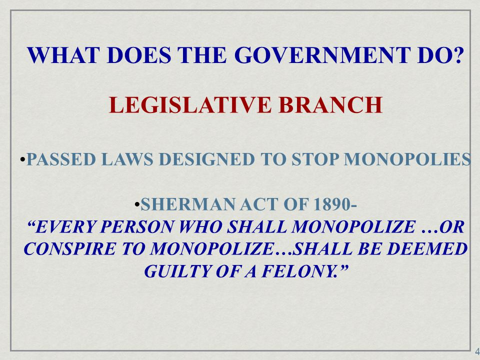 WHAT DOES THE GOVERNMENT DO PASSED LAWS DESIGNED TO STOP MONOPOLIES
