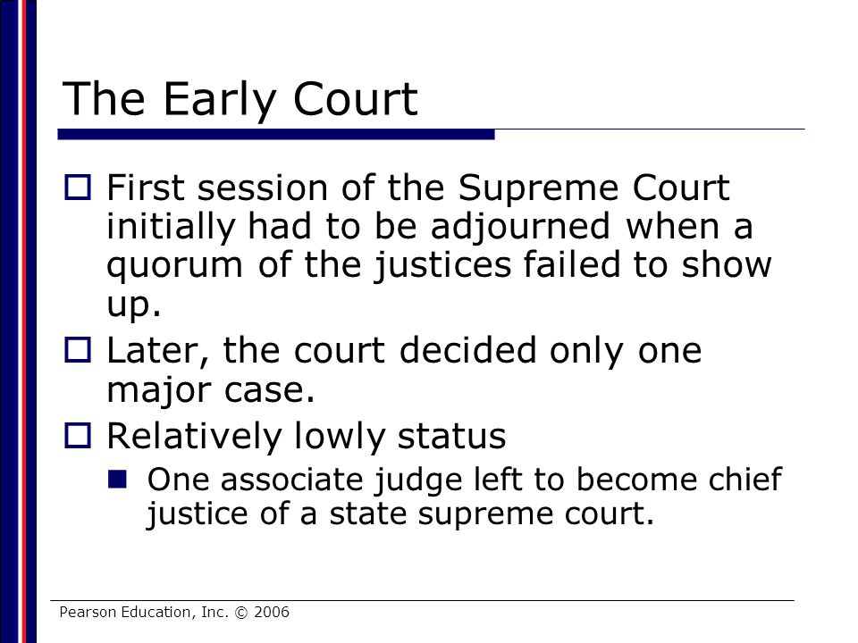 The Early Court First session of the Supreme Court initially had to be adjourned when a quorum of the justices failed to show up.
