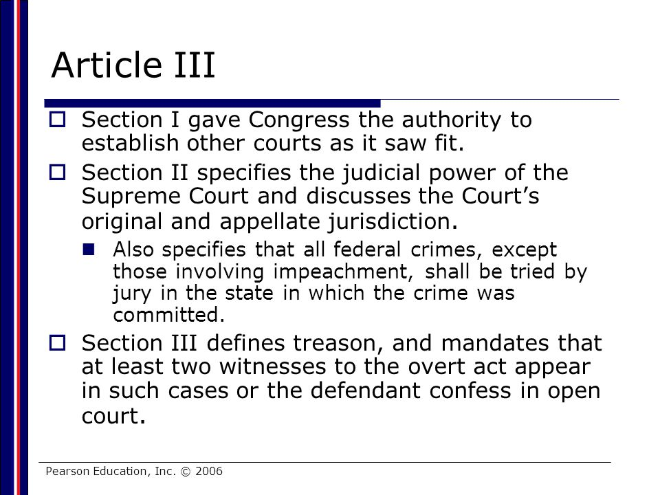 Article III Section I gave Congress the authority to establish other courts as it saw fit.