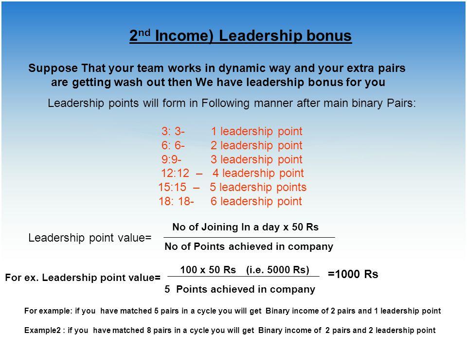 2nd Income) Leadership bonus