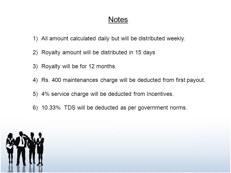 Notes All amount calculated daily but will be distributed weekly.