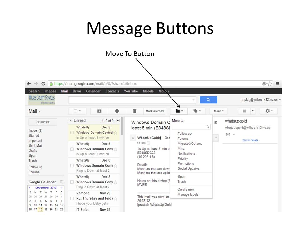 Message Buttons Move To Button