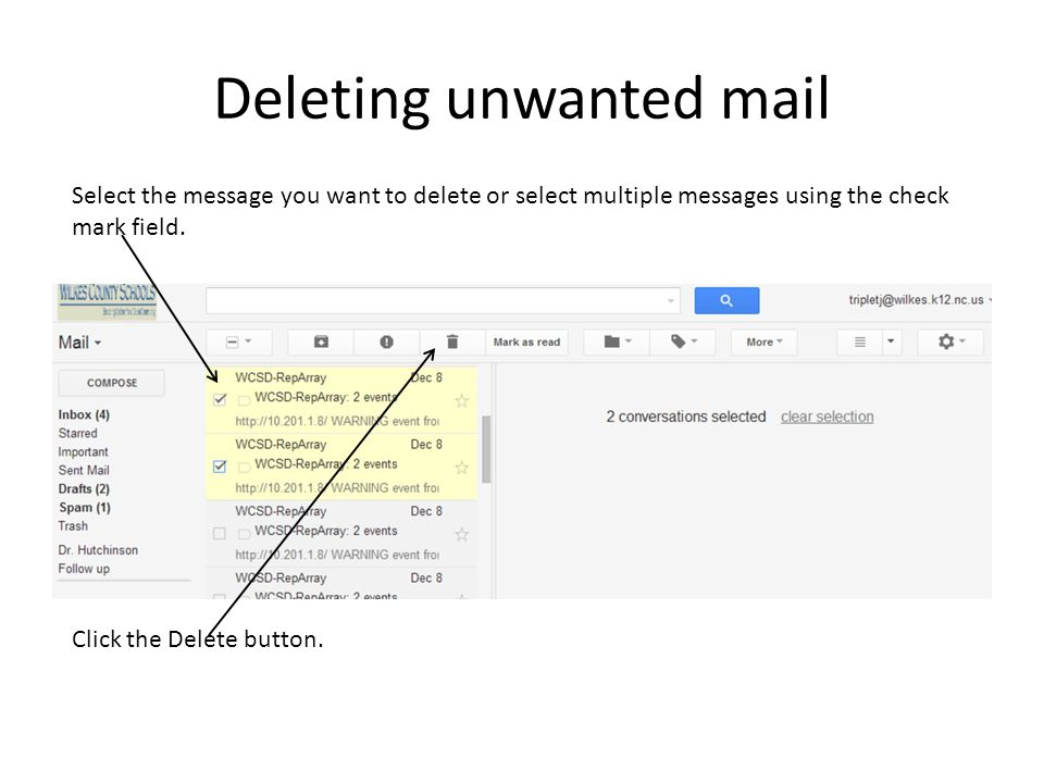 Deleting unwanted mail