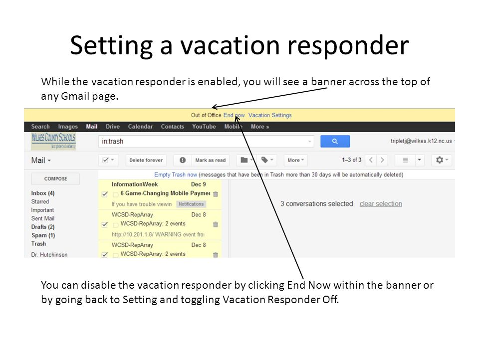 Setting a vacation responder