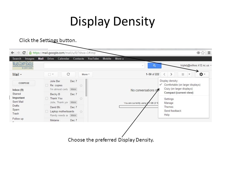 Display Density Click the Settings button.