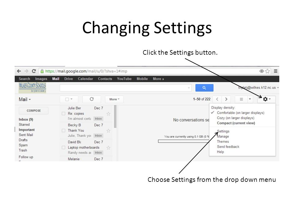 Changing Settings Click the Settings button.