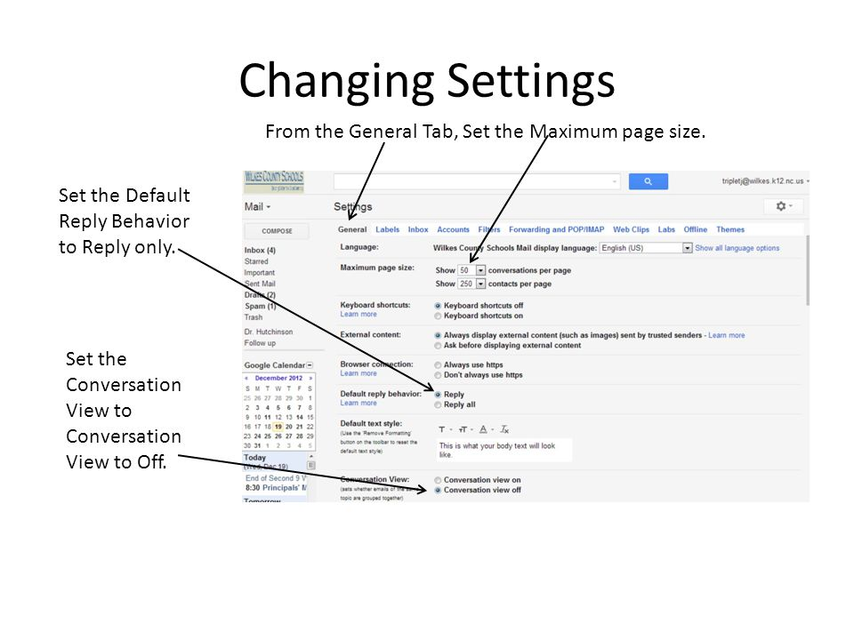 Changing Settings From the General Tab, Set the Maximum page size.