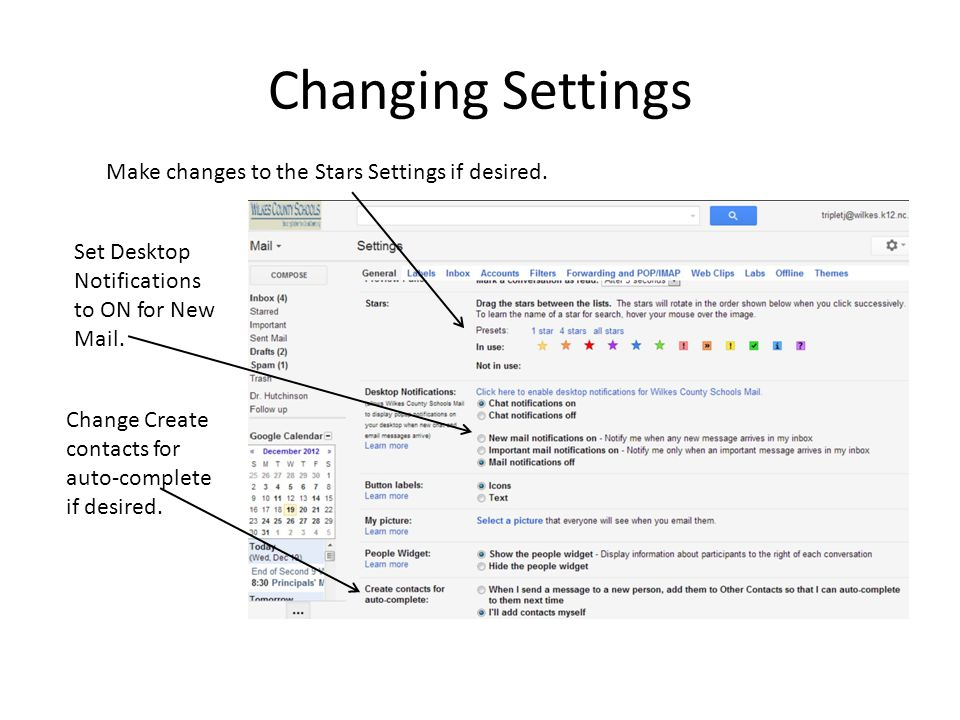 Changing Settings Make changes to the Stars Settings if desired.