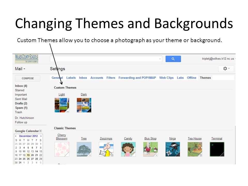 Changing Themes and Backgrounds