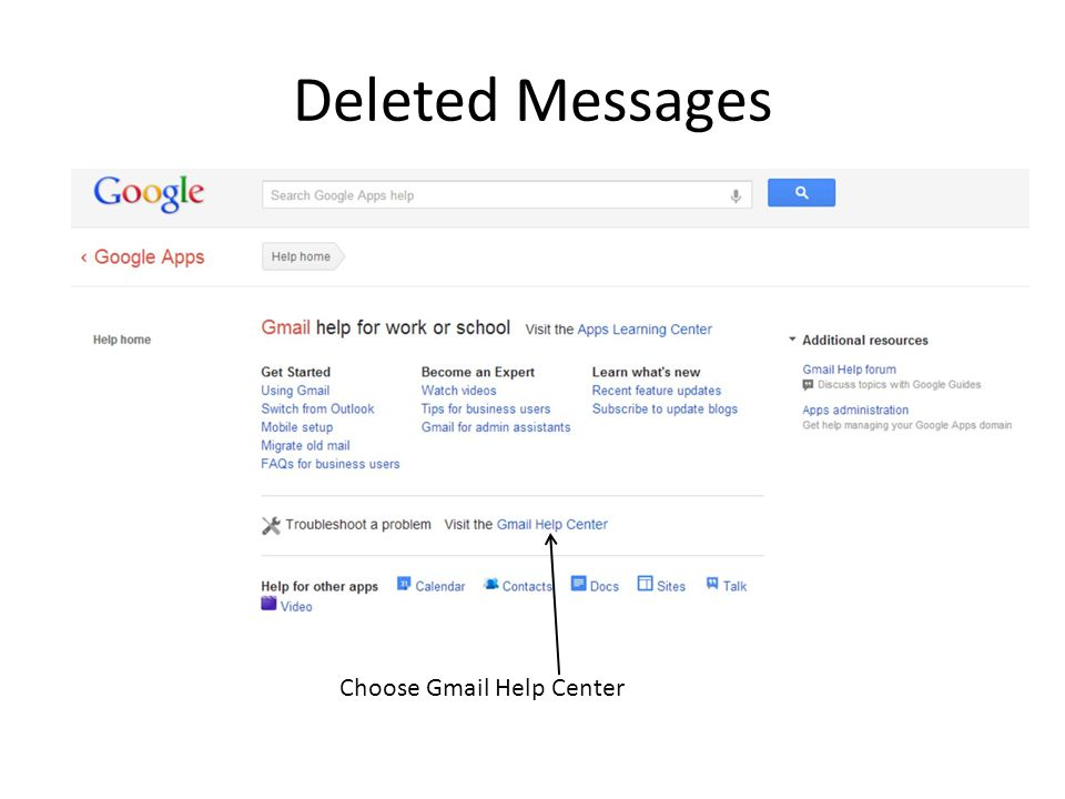 Deleted Messages Choose Gmail Help Center