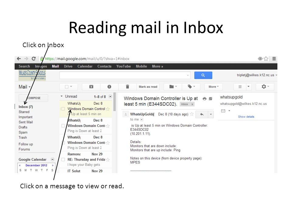 Reading mail in Inbox Click on Inbox