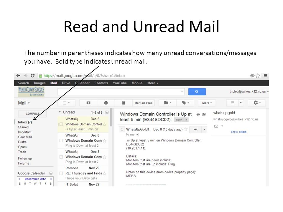 Read and Unread Mail The number in parentheses indicates how many unread conversations/messages.
