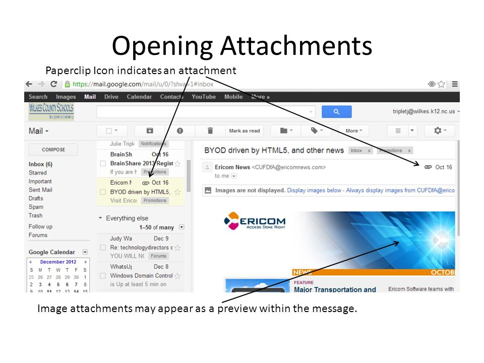 Opening Attachments Paperclip Icon indicates an attachment