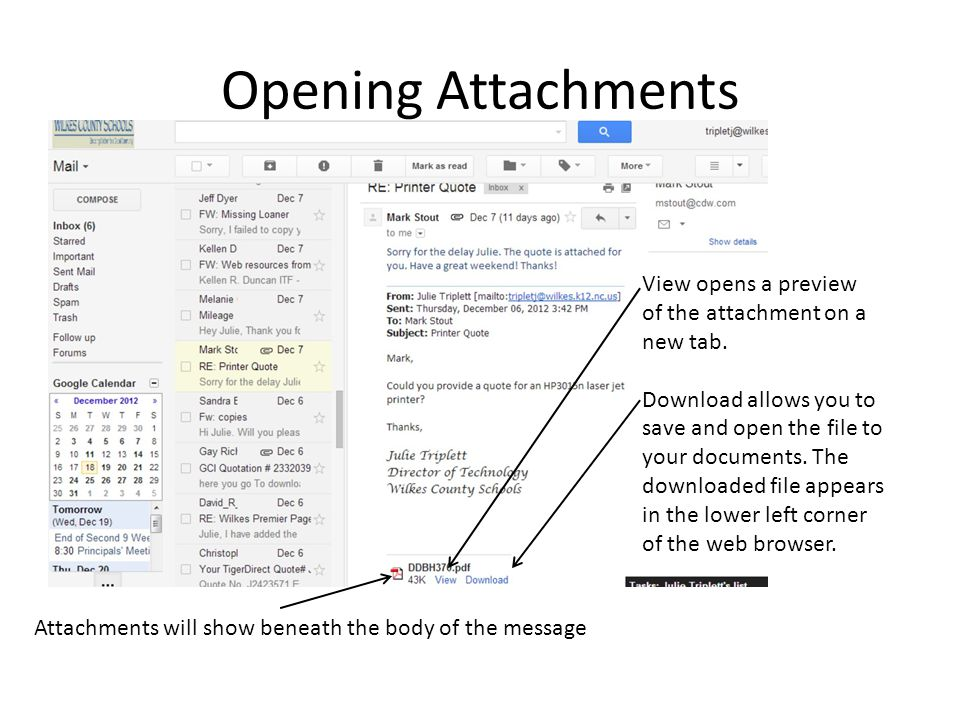 Opening Attachments View opens a preview