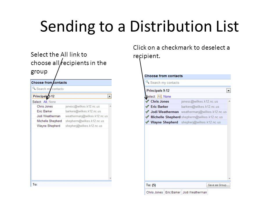 Sending to a Distribution List