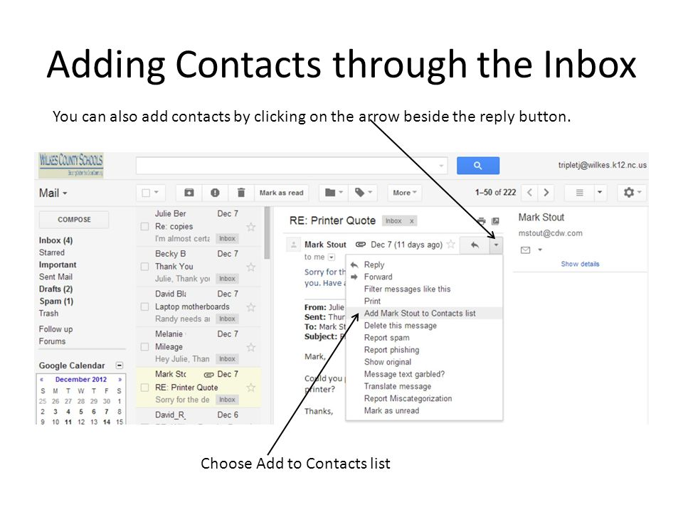 Adding Contacts through the Inbox