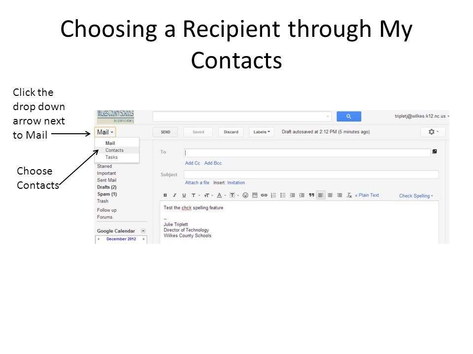 Choosing a Recipient through My Contacts