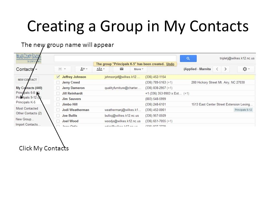 Creating a Group in My Contacts