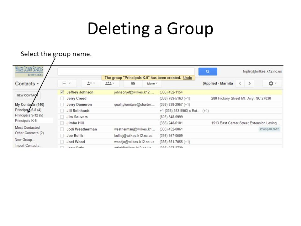 Deleting a Group Select the group name.