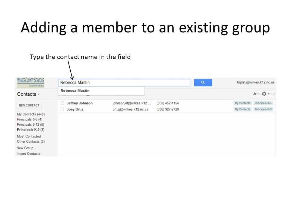 Adding a member to an existing group