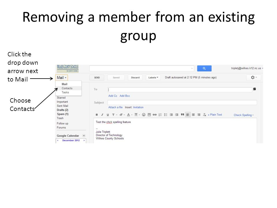 Removing a member from an existing group