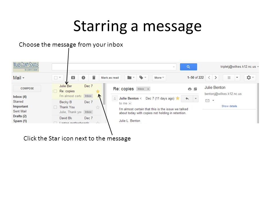Starring a message Choose the message from your inbox