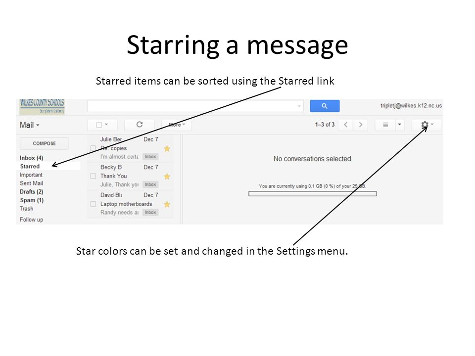 Starring a message Starred items can be sorted using the Starred link