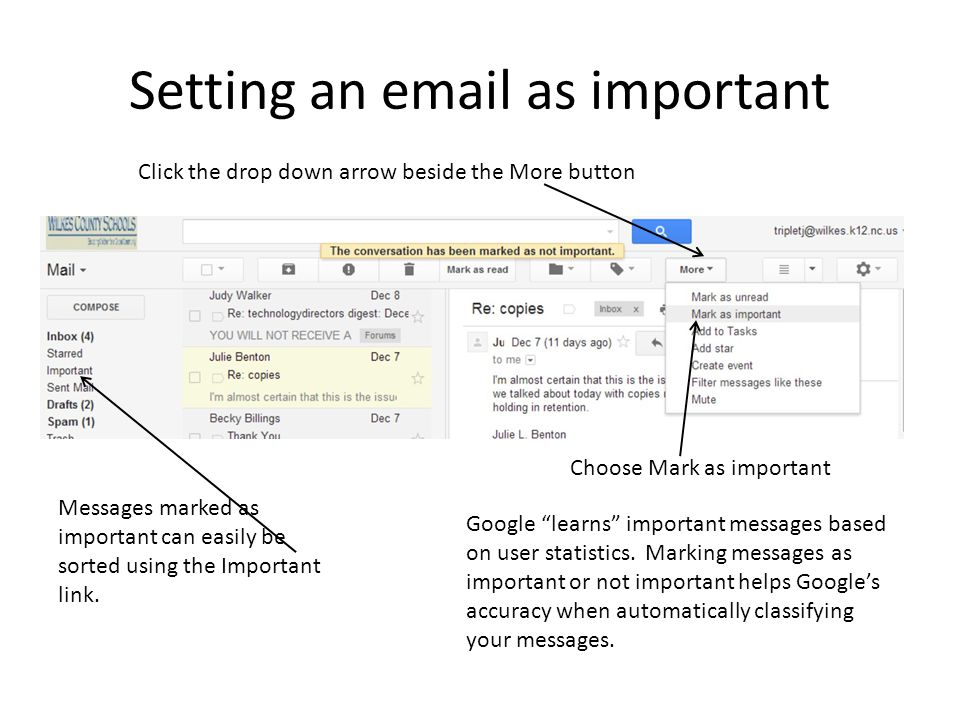 Setting an email as important