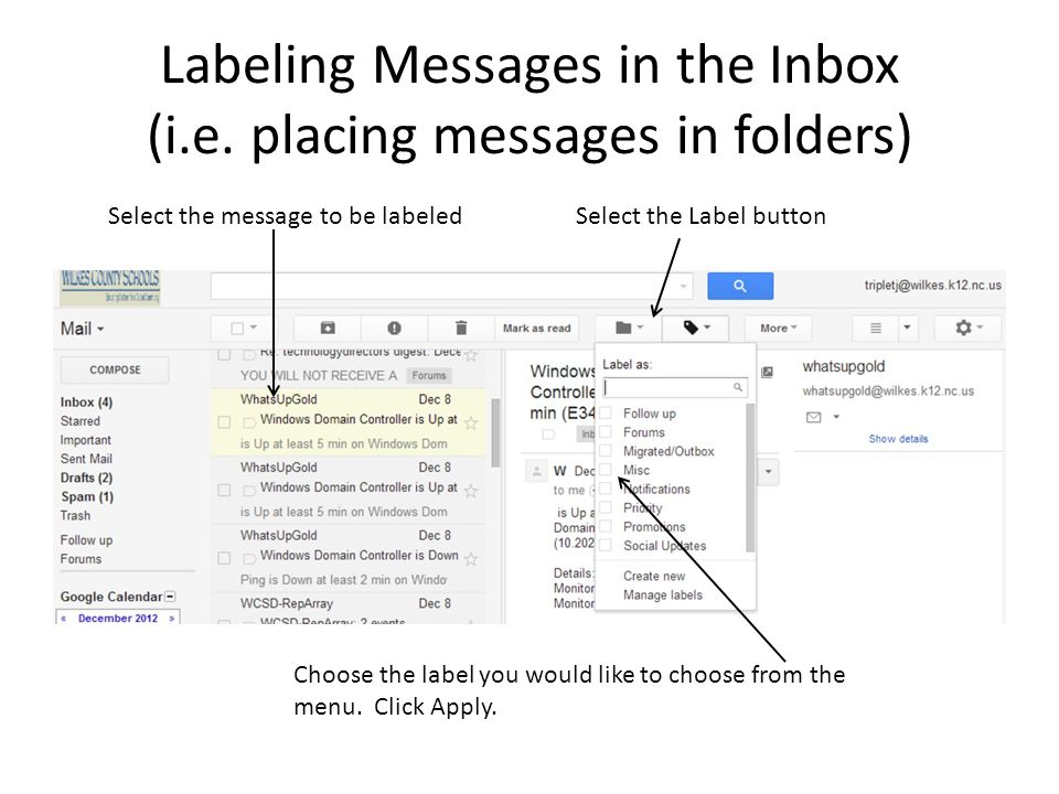 Labeling Messages in the Inbox (i.e. placing messages in folders)