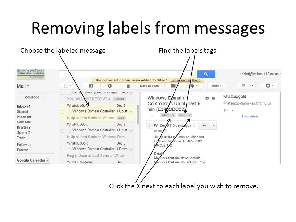 Removing labels from messages