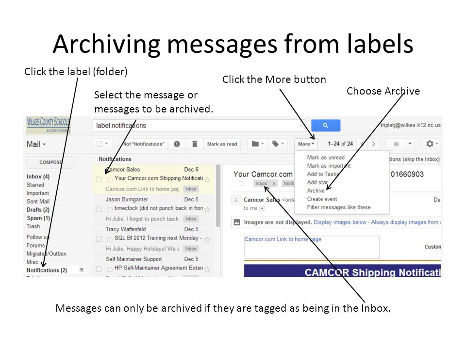 Archiving messages from labels