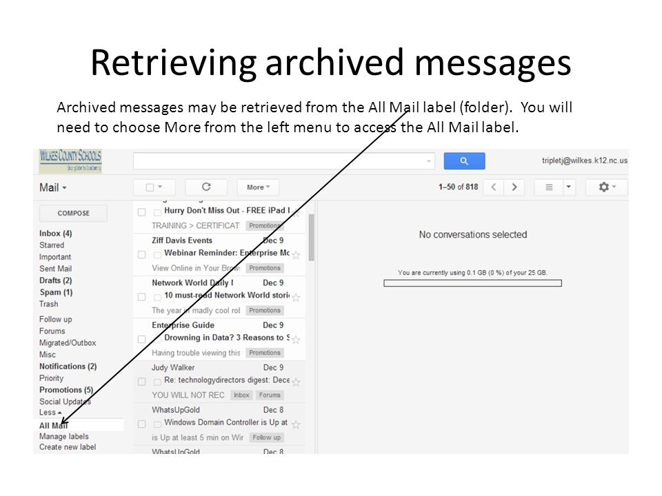 Retrieving archived messages