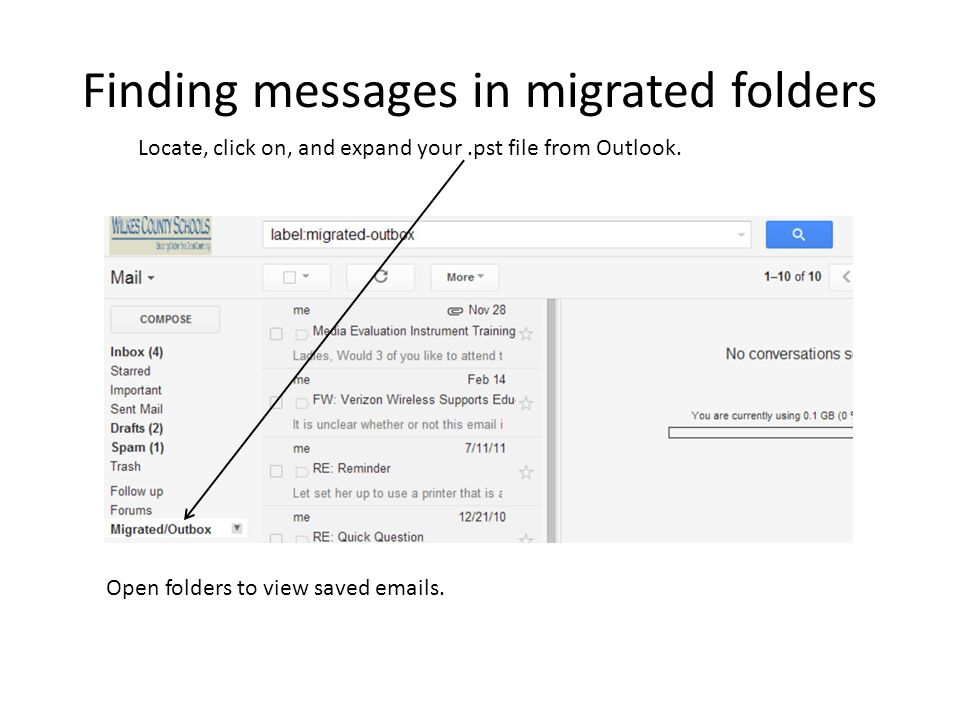 Finding messages in migrated folders