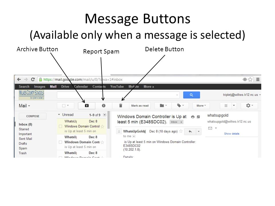 Message Buttons (Available only when a message is selected)