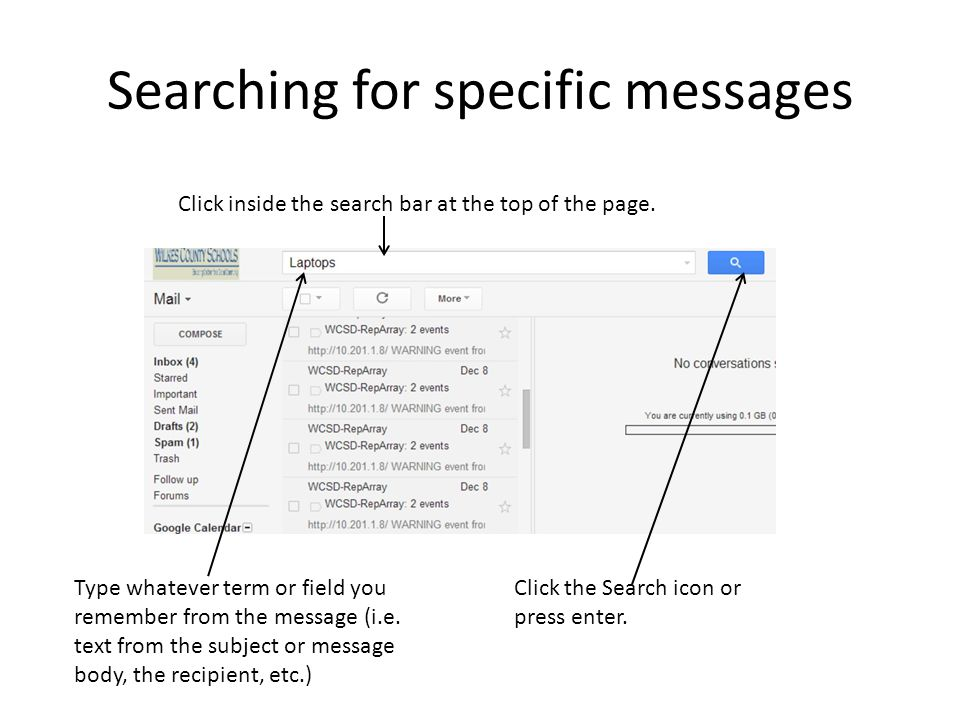 Searching for specific messages